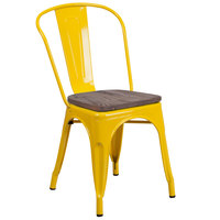 Flash Furniture CH-31230-YL-WD-GG Yellow Stackable Metal Chair with Vertical Slat Back and Wood Seat