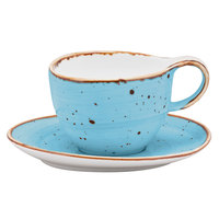 10 Strawberry Street SAN-9-TAOS Santa Fe 8.5 oz. Taos Blue China Coffee Cup & Saucer Set - 24/Case