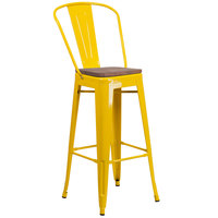 Flash Furniture CH-31320-30GB-YL-WD-GG 30 inch Yellow Stackable Metal Bar Height Stool with Vertical Slat Back and Wood Seat