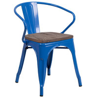 Flash Furniture CH-31270-BL-WD-GG Blue Stackable Metal Chair with Arms, Vertical Slat Back, and Wood Seat