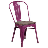 Flash Furniture ET-3534-PUR-WD-GG Purple Stackable Metal Chair with Vertical Slat Back and Wood Seat