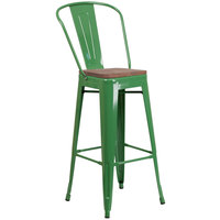 Flash Furniture CH-31320-30GB-GN-WD-GG 30 inch Green Stackable Metal Bar Height Stool with Vertical Slat Back and Wood Seat