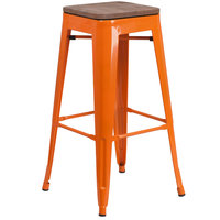 Flash Furniture CH-31320-30-OR-WD-GG 30 inch Orange Stackable Metal Backless Bar Height Stool with Square Wood Seat