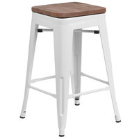 Flash Furniture CH-31320-24-WH-WD-GG 24 inch White Stackable Metal Backless Counter Height Stool with Square Wood Seat
