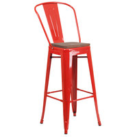 Flash Furniture CH-31320-30GB-RED-WD-GG 30 inch Red Stackable Metal Bar Height Stool with Vertical Slat Back and Wood Seat