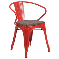 Flash Furniture CH-31270-RED-WD-GG Red Stackable Metal Chair with Arms, Vertical Slat Back, and Wood Seat