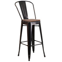 Flash Furniture CH-31320-30GB-BQ-WD-GG 30 inch Black-Antique Gold Stackable Metal Bar Height Stool with Vertical Slat Back and Wood Seat