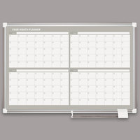 MasterVision GA03105830 36 inch x 24 inch Magnetic Four Month Enameled Steel Dry Erase Board with Silver Aluminum Frame
