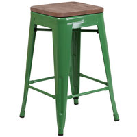 Flash Furniture CH-31320-24-GN-WD-GG 24 inch Green Stackable Metal Backless Counter Height Stool with Square Wood Seat
