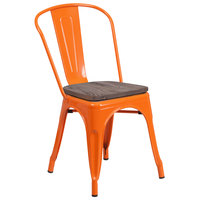Flash Furniture CH-31230-OR-WD-GG Orange Stackable Metal Chair with Vertical Slat Back and Wood Seat