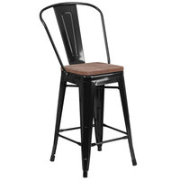 Flash Furniture CH-31320-24GB-BK-WD-GG 24 inch Black Stackable Metal Counter Height Stool with Vertical Slat Back and Wood Seat