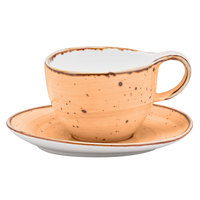 10 Strawberry Street SAN-9-MAIZ Santa Fe 8.5 oz. Maize Orange China Coffee Cup & Saucer Set - 24/Case