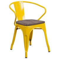 Flash Furniture CH-31270-YL-WD-GG Yellow Stackable Metal Chair with Arms, Vertical Slat Back, and Wood Seat