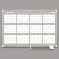 MasterVision GA03106830 36 inch x 24 inch Magnetic Twelve Month Enameled Steel Dry Erase Board with Silver Aluminum Frame