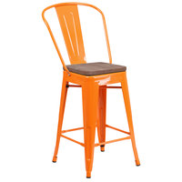 Flash Furniture CH-31320-24GB-OR-WD-GG 24 inch Orange Stackable Metal Counter Height Stool with Vertical Slat Back and Wood Seat