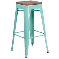Flash Furniture ET-BT3503-30-MINT-WD-GG 30 inch Mint Green Stackable Metal Backless Bar Height Stool with Square Wood Seat