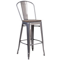 Flash Furniture XU-DG-TP001B-30-WD-GG 30 inch Clear Coated Metal Bar Height Stool with Vertical Slat Back and Square Wood Seat