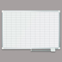 MasterVision MA0392830 36 inch x 24 inch Magnetic 1 inch x 2 inch Gridded Lacquered Steel Dry Erase Board with Silver Aluminum Frame