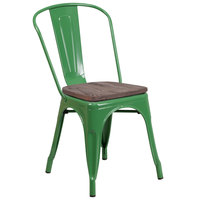 Flash Furniture CH-31230-GN-WD-GG Green Stackable Metal Chair with Vertical Slat Back and Wood Seat