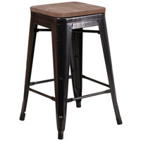 Flash Furniture CH-31320-24-BQ-WD-GG 24 inch Black-Antique Gold Stackable Metal Backless Counter Height Stool with Square Wood Seat