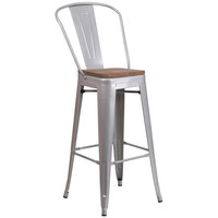 Flash Furniture CH-31320-30GB-SIL-WD-GG 30 inch Silver Stackable Metal Bar Height Stool with Vertical Slat Back and Wood Seat