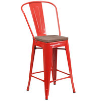 Flash Furniture CH-31320-24GB-RED-WD-GG 24 inch Red Stackable Metal Counter Height Stool with Vertical Slat Back and Wood Seat