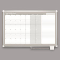 MasterVision GA0397830 36 inch x 24 inch Magnetic Monthly Enameled Steel Dry Erase Board with Silver Aluminum Frame