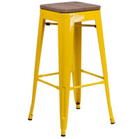 Flash Furniture CH-31320-30-YL-WD-GG 30 inch Yellow Stackable Metal Backless Bar Height Stool with Square Wood Seat
