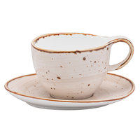 10 Strawberry Street SAN-9-PBLO Santa Fe 8.5 oz. Pueblo Brown China Coffee Cup & Saucer Set - 24/Case