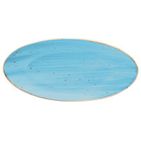 10 Strawberry Street SAN-16OVPLTR-TAOS Santa Fe 16 inch Taos Blue China Oval Plate - 12/Case