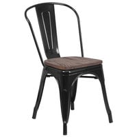 Flash Furniture CH-31230-BK-WD-GG Black Stackable Metal Chair with Vertical Slat Back and Wood Seat