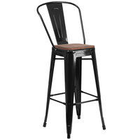 Flash Furniture CH-31320-30GB-BK-WD-GG 30 inch Black Stackable Metal Bar Height Stool with Vertical Slat Back and Wood Seat
