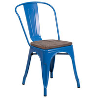Flash Furniture CH-31230-BL-WD-GG Blue Stackable Metal Chair with Vertical Slat Back and Wood Seat