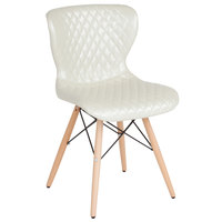 Flash Furniture LF-9-07M-IVR-GG Riverside Contemporary Ivory Vinyl Upholstered Chair with Wooden Legs