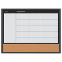 MasterVision MX04511161 24 inch x 17 inch Magnetic Monthly Lacquered Steel Dry Erase / Cork Board with Black Wood Frame
