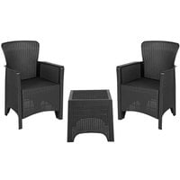 Flash Furniture DAD-SF3-2P-SET-GG 3-Piece Dark Gray Faux Rattan Plastic Chair Set with Side Table
