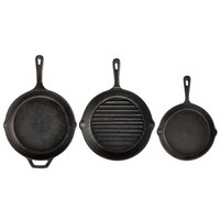 Valor 3-Piece Pre-Seasoned Cast Iron Skillet Set - Includes 8 inch and 10 1/4 inch Skillets, and 10 1/4 inch Branding Skillet