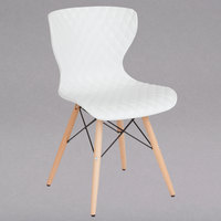 Flash Furniture LF-7-07-WH-GG Bedford Contemporary White Plastic Chair with Wooden Legs