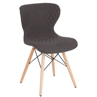 Flash Furniture LF-9-07M-DGY-F-GG Riverside Contemporary Dark Gray Fabric Upholstered Chair with Wooden Legs