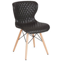 Flash Furniture LF-9-07M-GRY-GG Riverside Contemporary Gray Vinyl Upholstered Chair with Wooden Legs