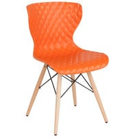Flash Furniture LF-7-07-ORNG-GG Bedford Contemporary Orange Plastic Chair with Wooden Legs