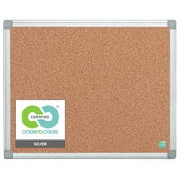 MasterVision CA031790 24 inch x 36 inch Cork Board with Aluminum Frame and Gray Corners