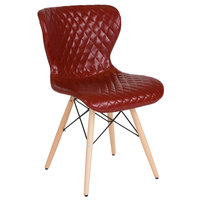 Flash Furniture LF-9-07M-RED-GG Riverside Contemporary Red Vinyl Upholstered Chair with Wooden Legs