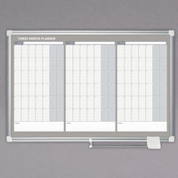 MasterVision GA03204830 36 inch x 24 inch Magnetic Three Month Lacquered Steel Dry Erase Board with Silver Plastic Frame