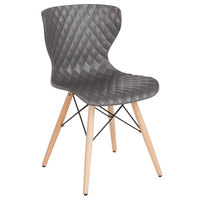 Flash Furniture LF-7-07-GRY-GG Bedford Contemporary Gray Plastic Chair with Wooden Legs