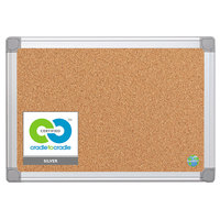 MasterVision CA021790 18 inch x 24 inch Cork Board with Aluminum Frame and Gray Corners