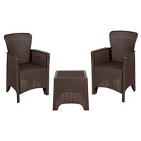 Flash Furniture DAD-SF3-2P-SET-CHOC-GG 3-Piece Chocolate Faux Rattan Plastic Chair Set with Side Table