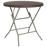 Flash Furniture DAD-FT-80R-GG 31 1/2 inch Round Brown Rattan Plastic Folding Table