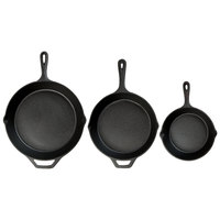 Valor 3-Piece Pre-Seasoned Cast Iron Skillet Set - Includes 8 inch, 10 1/4 inch, and 12 inch Skillets