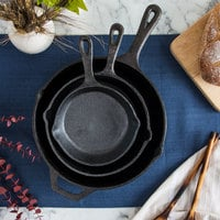Valor 3-Piece Pre-Seasoned Cast Iron Skillet Set - Includes 6 1/2 inch, 8 inch, and 10 1/4 inch Skillets